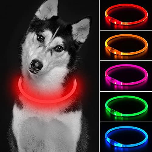 Collar de perro con luz que brilla en la oscuridad, collar de seguridad rojo para perro con USB recargable súper brillante collar intermitente para perros pequeños, medianos y grandes