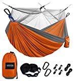 Kootek Camping Hammock with Net Double & Single Portable Hammocks Parachute Lightweight Nylon with Tree Straps for Outdoor Adventures Backpacking Trips