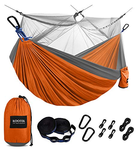 Kootek Camping Hammock with Mosquito Net Double & Single Portable Hammocks Parachute Lightweight Nylon with Tree Straps for Outdoor Adventures...