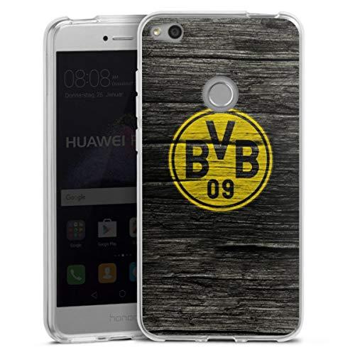 DeinDesign Silikon Hülle kompatibel mit Huawei P8 Lite 2017 Case transparent Handyhülle Borussia Dortmund BVB Holzoptik
