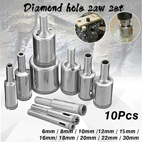 No-branded Hole Saw Set 15pcs 6-50mm or 10pcs 6-30mm Diamond Hole Saw Cutter Set Drill Bit for Tile Marble Glass LYFTLKJ (Size : 10)