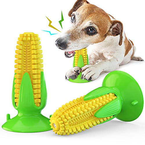 Z ZHIZU Dog Chew Toys Corn, Squeaky Dog Toys Puppy Toothbrush Teeth Cleaning Toys, Tough Chew Toys for Aggressive Chewers Dog Dental Oral Care Toy for Medium Large Dogs (Squeaky-Corn)