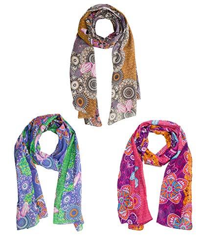 Sunsa Damessjaal sjaal sjaal sjaal sjaal sjaal dames cadeau-ideeën voor vrouwen dames dames dames scarf scarves/doeken van katoen met bloemen & modern bohemian design cadeau vriendin 3-delige set