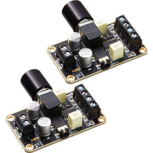 2 Pieces PAM8406 Mini Audio Amplifier Board DC 5V, 5W+5W Amplifier Module, Digital Power Amp Module Class D 2.0 Dual Channel Audio Stereo Amplify Board for DIY Sound System