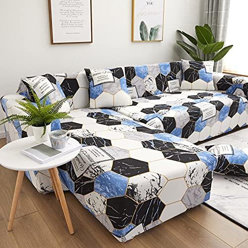 Sala de Estar Funda de sofá en Forma de L Sofá Funda de Silla reclinable para el hogar Funda de sofá Funda de sofá elástica de Spandex 1/2/3/4 Asiento A13 2 plazas