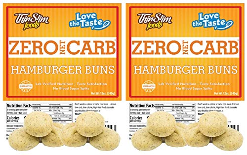 ThinSlim Foods Low Carb Hamburger Buns - Keto-Friendly 2 Pack (12 Buns)