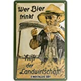 Nostalgic Art Retro Blechschild Wer Bier trinkt hilft der Landwirtschaft-Geschenk-Idee als...