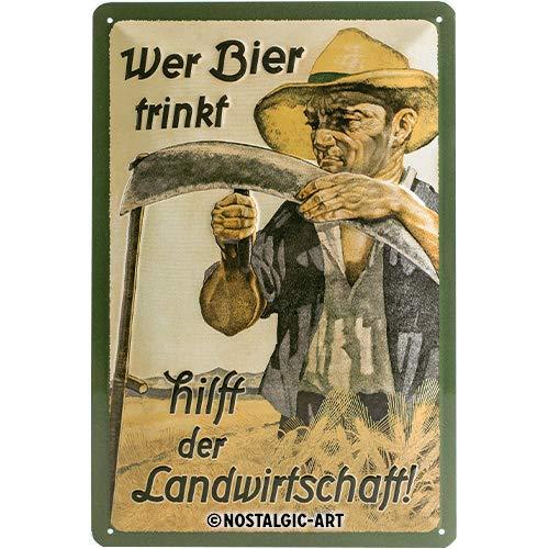 Nostalgic-Art Retro Blechschild, Wer Bier trinkt hilft der Landwirtschaft – Geschenk-Idee als Bar-Zubehör, aus Metall, Vintage-Dekoration, 20 x 30 cm