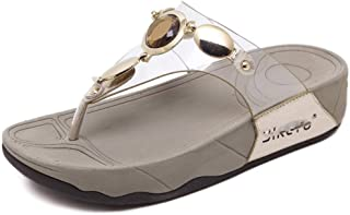 Junshoes Women's Heel Wedges Open Toe Sandals Flip Flop Slippers Rhinestone T-Strap Shoes Summer Post Thong Beach Shoe