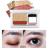 MORETIME- Color Cálido y Frío Shimmer bicolor sello paleta de sombra de ojos maquillaje en polvo flexibilidad duradera