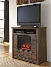 Ashley Quinden 4 Drawer Wood Media Chest with LED Fireplace Insert