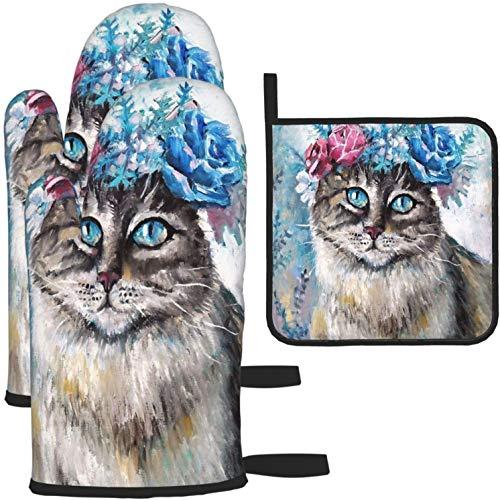 Pintar lindo gato en corona de flores manoplas para horno y soportes para ollas 1312 piezas Juego de guantes de cocina y soportes para ollas antideslizantes para cocinar, hornear, asar a la parrilla,