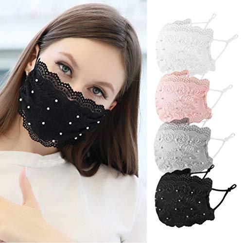 Bandanas mit Perle, Unisex, schwarz, Staub-Baumwolle, waschbar, wiederverwendbar, Mundschutz, 4 Stück