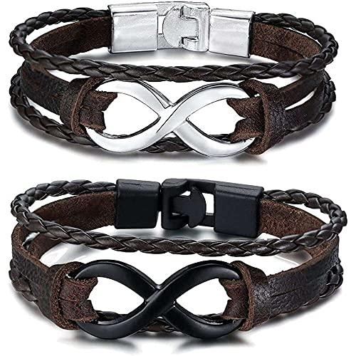 chaosong shop 2 pulseras infinitas de cuero con símbolo número 8 para parejas, para hombres y mujeres