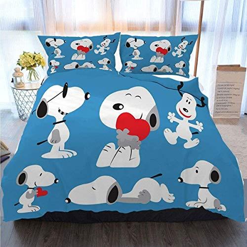 QWAS Snoopy - Juego de funda nórdica y 2 fundas de almohada, diseño de dibujos animados para...