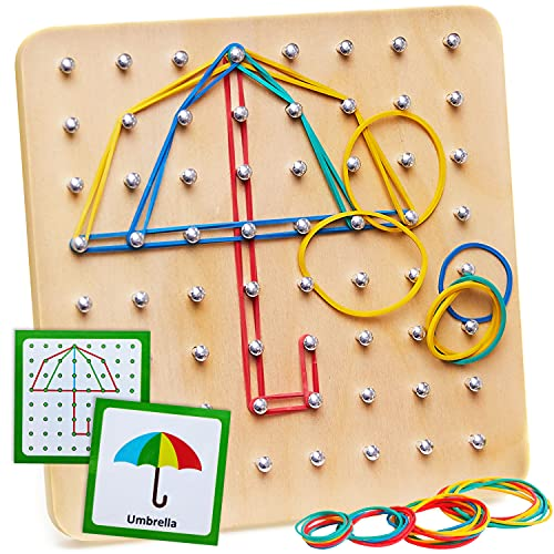 Panda Brothers Wooden Geoboard - Montessori Toy, Graphical Mathematical Education Toy for Kids with 30 Pattern Cards and 40 Rubber Bands to Create Figures and Shapes, Brain Teaser STEM Toy Geo Board