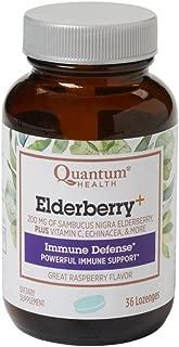 Quantum Health Elderberry Lozenges, Raspberry Flavor w/ Herbals for Throat Comfort, Immune Support, Bagged, 36 Ct.