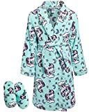 Sleep & Co Big Girls Fleece Robe with Slippers Set (Mint Unicorn, 7-8)'