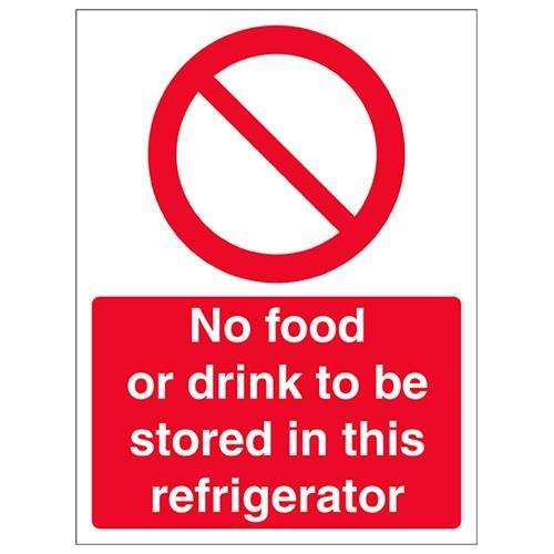 VSafety Geen eten of drinken te bewaren in deze koelkast bord - 150mm x 200mm - 1mm Rigid Plastic