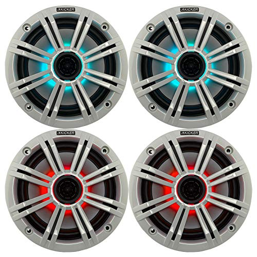 """2- Pair (4-Speakers) Multi Color LED Lights Kicker 6.5"""" 195W Marine Audio Coaxial Stereo White Grills"""