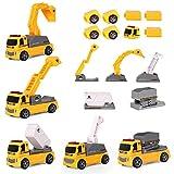 m zimoon Veicoli da Cantiere Giocattolo, 13 Pezzi Mini Magnetico Camion da Costruzione Assemblare Giocattoli con Gru di Sollevamento Scavatrice Bulldozer Ribaltabile per Bambini di 3 Anni
