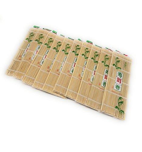 "THY COLLECTIBLES Sushi Making Rolling Mat Natural Bamboo 9.5""x9.5"" 10 PCS SET"
