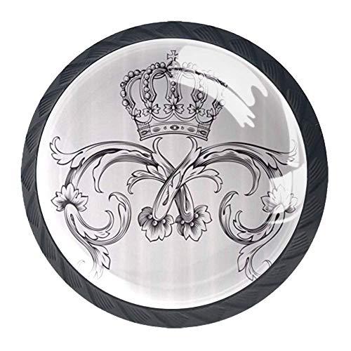 Royal Crown kurvor kung palats band monokrom retro konst 4 paket köksskåpsknoppar, drar skåp handtag byrå låda dörrknoppar hårdvara med skruvar