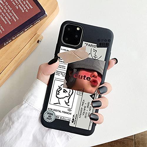 DEIOKL Fundas de teléfono con Letras artísticas de Moda de Lujo para iPhone 12 Mini 11 Pro MAX XS X XR 6 7 8 Plus SE Soft Candy TPU Cover, 05, para iPhone 12