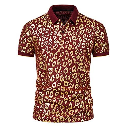 Shirt Ocio Hombre Verano Moda Vintage Estampado Slim Fit Hombre Shirt Transpirable Cuello Kent Tapeta con Botones Manga Corta Hombre Shirt Musculosa Tendencia Clásica Hombre Polo A-Red 3XL