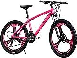 Mountain Bike für Männer 26inch Carbon Steel Mountainbike 21-Gang-Fahrrad Full Suspension MTB,Rosa