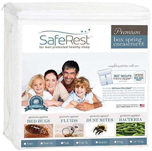 SafeRest Premium Box Spring Encasement - Lab Tested Bed Bug Proof, Dust Mite Proof and Waterproof - Hypoallergenic, Breathable, Noiseless and Vinyl Free - Queen Size