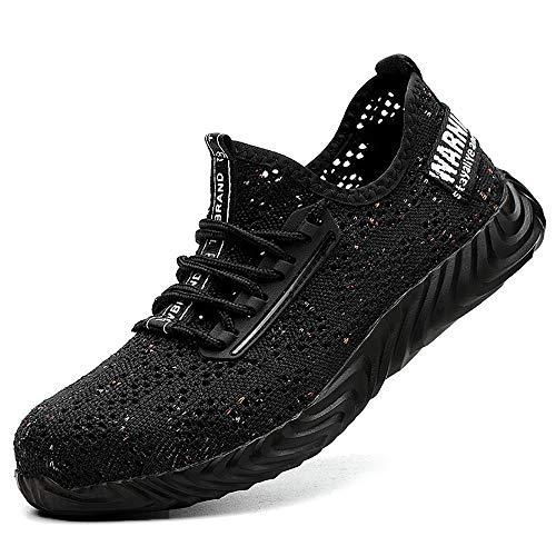 Top Verano Calzado de Seguridad Ligero Antideslizante, en Sitio Montaña Asfalto, Nuevo Zapatos de Trabajo Industrial Deportivo para Hombre Mujer Unisex - Negro
