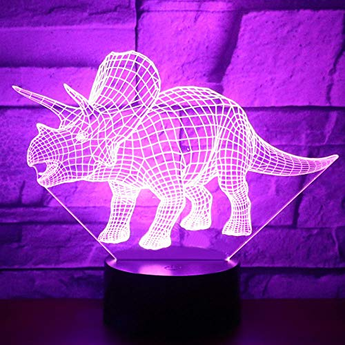 Anime 3D Night Light 3D LED Night Light Dinosaur Triceratops Running 7 Color Lights for Home Decoration Lights Amazing Imagation Optics Holiday gifts for Children