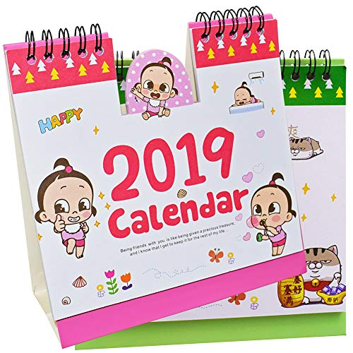 Familienkalender 2019 - WENTS 2PCS Kalender Desktop Monatsplaner Kalender mit viel Platz für tägliche Termine & Aktivitäten Querterminbuch für Büro und Schreibtisch