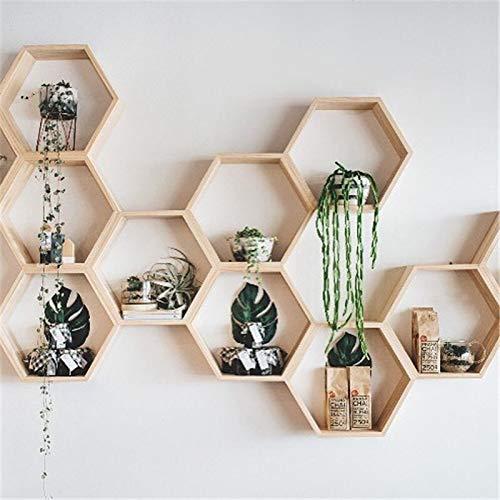 MultifuncióN Estante Almacenamiento Baldas Estante hexagonal nórdico Estante de madera for colgar en la pared Estantes hexagonales de nido de abeja for bebé Decoración de dormitorio for niños