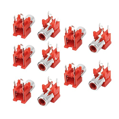 sourcingmap® 10 piezas de montaje PCB Pin 3 AV RCA concéntrico Salida 1 Enchufe hembra placa de conectores