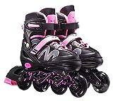 Conemmo Pattini Scooter per Bambini, Pattini di scatoli Regolabili, 4 Scooter Stivali da Skate, Pattini per Bambini Scooter, 3 Dimensioni di Principianti per Bambini Ragazze e Ragazzi, Rosa - m