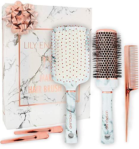 Lily England Haarbürsten Set – Haar Styling Set mit Haarbürste, Rundbürste, Kamm & Haarklammern in Marmor – für dünnes & dickes Haar
