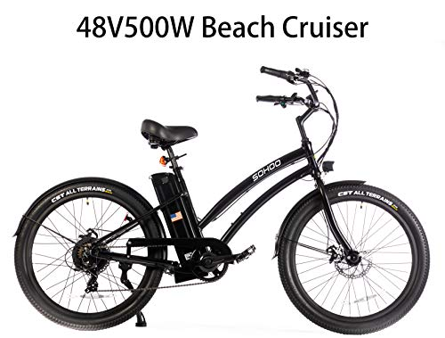 SOHOO 26' 48V500W12.5Ah Electric Beach Cruiser City E-Bike Mountain Bike (Black)