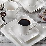Vancasso, Gitana 18-teilig Kaffeeservice aus Weißem Porzellan, Kaffeeset für 6 Personen, Beinhaltet Kaffeetassen, Untertassen, Dessertteller - 4