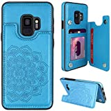 MMHUO for Samsung Galaxy S9 Case with Card Holder,Flower Magnetic Back Flip Case for Samsung Galaxy S9 Wallet Case for Women,Protective Case Full Cover Phone Case for Samsung Galaxy S9 5.8',Blue