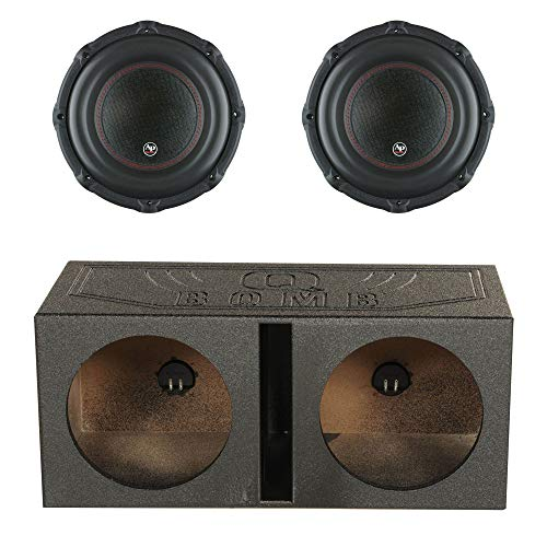 Audiopipe TXX-BD3-12 12 Inch 1800W Car Audio 4 Ohm Subwoofer (2 Pack) with QPower QBOMB12V Dual Vented Ported Subwoofer Sub Box with Bedliner Spray