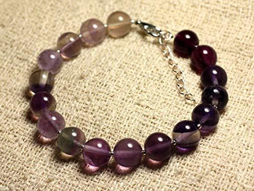 World Wide Gems Pulsera de plata de ley y piedras preciosas - Fluorita púrpura 10mm Código-WAR6996