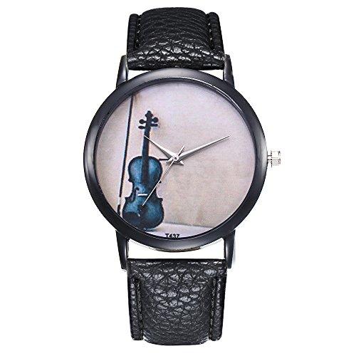 Damen Armbanduhr Casual Geige Muster Damenuhr Analoge Quarzuhr PU Leder Band Uhren Geschenk Frauen Uhr Yuwegr (Schwarz)