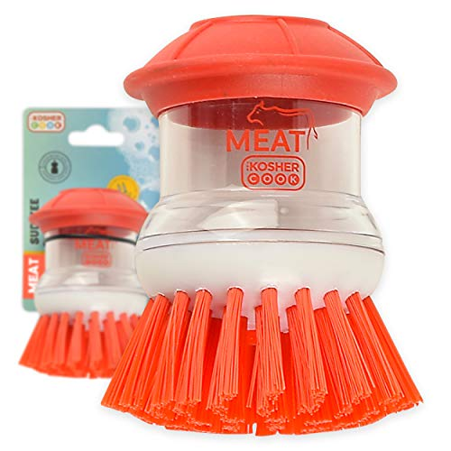 The Kosher Cook Meat Red Sud-Zee Scrub Brush with Liquid Dish Soap Dispenser –Scouring Sponge Bristles with Ergonomic Handle - Color Coded Kitchen Tools