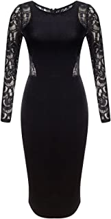 Women's Long Sleeve Velvet Lace Midi Wrap Dress