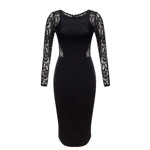 OLRAIN Women s Long Sleeve Velvet Lace Midi Wrap Dress 84f8ffff9