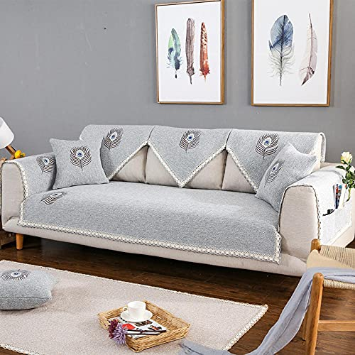 KENEL Multi-purpose Sofa Slipcover, Plush Quilted Sofa covers Sofa cover slipcover, Non-Slip Sofa Arm Pad Fabric Sofa Cover Covers (Only 1 Piece/Not All Set)-90 * 180CM_Grey_B