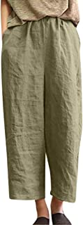 Casual Women's Trousers,Solid Flax Cotton and Linen Loose Fit Point Wide Leg 9/10 Pants