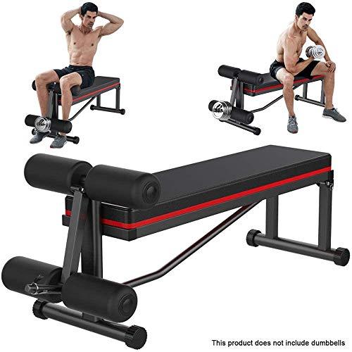 HUJPI Hantelbank, Klappbare Hantelbank für´s Home-Gym für Ganzkörpertraining verstellbare Sit-Up-Bank höhenverstellbar Multifunktion Training Fitness Bank,Black